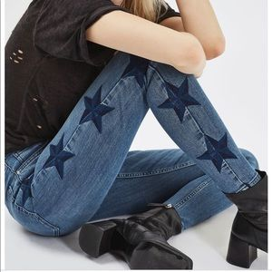 Topshop star embroidered skinny jeans